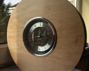 Large Maple Mantle Clock with Silver Skeleton Movement