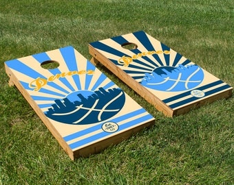 Denver Basketball Cornhole Board Set with Bean Bags