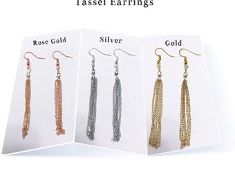Tassel Earrings - Rose Gold Tassel Earrings - Silver Tassel Earrings - Gold Tassel Earrings - Silver Tassel with Pearl Bead