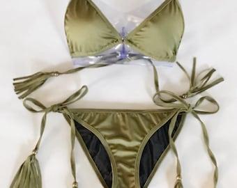 Olive Green Fringe Bikini