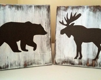 Rustic Moose Silhouette, Rustic Silhouette, Moose Home Decor, Moose Cottage Decor, Canadian Wood Sign, Rustic Wood Sign