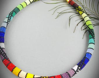 "Handmade bead crochet rope necklace ""rainbow"""