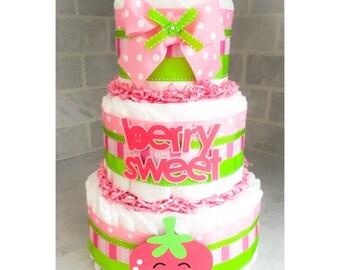 Diaper Cake - Diaper Cake For Girls - Strawberry Diaper Cake - Baby Shower Gift - Baby Shower Centerpiece