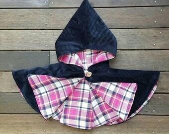 Girls hooded capelet // cape // jacket // hood // corduroy // navy // flannel // pink