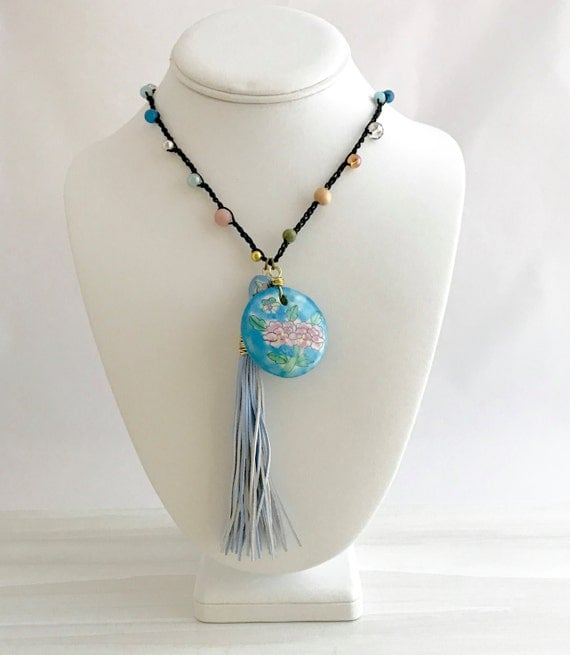 Ceramic bead pendant, hand crocheted, beaded necklace, leather tassle, chinese, talisman