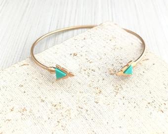 Triangle Bracelet,Turquoise Cuff Bracelet,Boho Bracelet,Triangle Cuff Bracelet,Turquoise Triangle Bracelet,Turquoise Cuff Bracelet