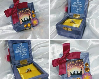 """Disneys """"Rapunzel"""" inspired Engagement Ring Box with Quote inside: """"All at once.. Everything looks different.. Now that I see you""""."""