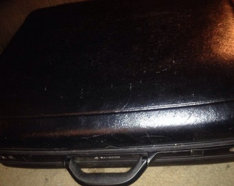 "Samsonite Silhouette 5 Large Hard Shell 24"" Black Vintage Suitcase"