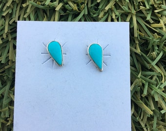 Small Tear Drop Turquoise Earrings in Sterling Silver