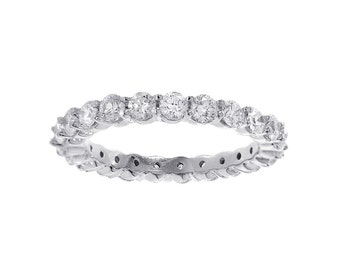 1.65 carat Round Cut Diamond Eternity Band 14k White Gold