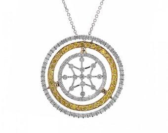 2.00 Carat Fancy Yellow & White Round Diamond Triple Circle Pendant on Cable Chain 14K Two Tone Gold