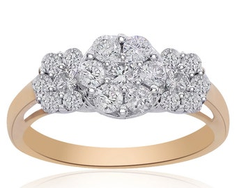 0.90 Carat Round Cut Pave Setting Diamond Triple Cluster Ring 14K Two Tone Gold