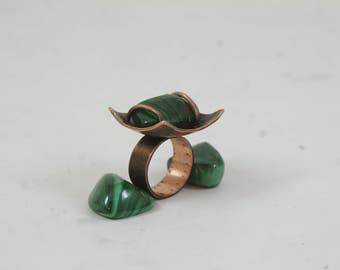 Unique ring Copper ring with polished malachitering  Copper rings for arthritis Copper jewelry Modern  ring Boho ring Unique malachite