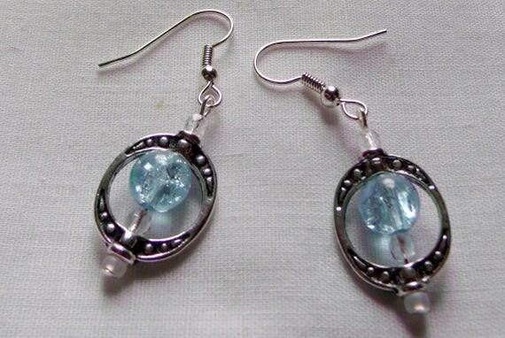 custom oval frame stamp silver bead earrings, blue/yellow 2 tone beads, dangle earrings, teen girl earrings, minimalist style, great gift