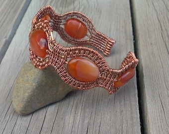 Carnelian copper wirewrapped bangle