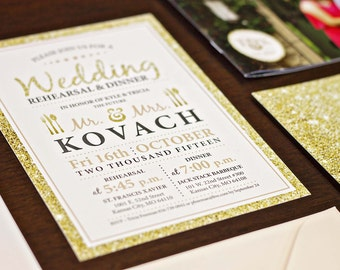 Gold Glitter and Blush Wedding Invitation Booklet with Details Cards and Program