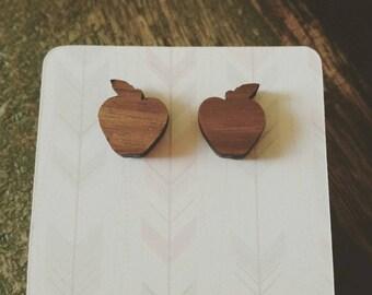Wooden apple stud earrings