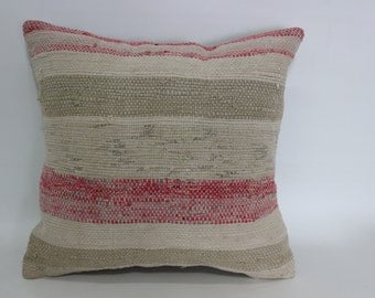 16x16 Washable Kilim Pillow Throw Pillow Ethnic Pillow Home Decor 16x16 Striped Kilim Pillow Cotton Decorative Cushion Cover SP4040-2024