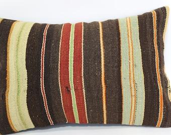 16x24 Bohemian Kilim Pillow Home Decor 16x24 Striped Kilim Pillow Fllor Pillow Handwoven Kilim Pillow Cushion Cover SP4060-443