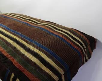 """48""""x 24"""" x 3"""" Striped Kilim Pillow Bohemian Pillow 48""""x 24"""" x 3""""  Turkish Kilim Pillow Handwoven Buff Kilim Pillow Cushion Cover"""