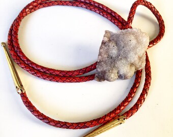 Quartz Druzy Bolo Tie with Red Brown Braided Leather and stamped brass tie tips