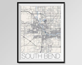 South Bend Etsy - South bend map