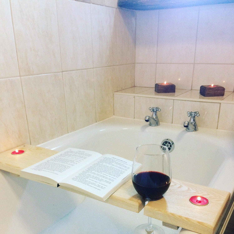 Bathroom Gift Hardwood Wooden Bath Caddy Bath Shelf Wine Caddy Glass Holder