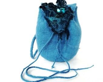 BLUE BACKPACK Felt Wool  Gift for Her