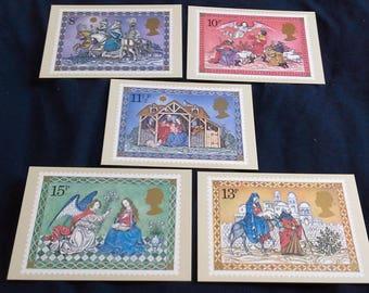 Royal mail Set of 5 PHQ cards Christmas 1979
