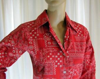 1970's LL Bean Bandanna Camp Shirt, Women's Small, LL Bean, Bandanna, Novelty Print, Button Down, Long Sleeve, Cotton, Red, Camp Shirt