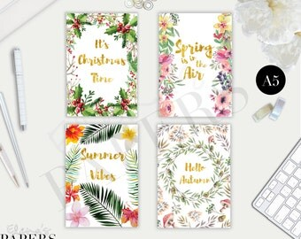Printable A5 SEASONS Dividers for your A5 and Franklin Covey Classic Planners_ Summer Spring Autumn Winter-Christmas time PDF Digital