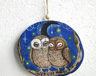 Pair of owls sleepers, nocturnal animals, painting on wood, pyrography, recycled wood, hanging decoration, gift idea