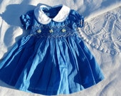 2 styles of dress and romper Doll or doll Corolla 30 cm Blue nattier garment to embroidery smocking (ref 280 & 272)