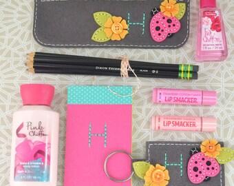 Lady Bug Set Cosmetic Case & Keychain, Handmade Keychain, Lady Bug Makeup Bag, Felt Key Ring, Accessories Set