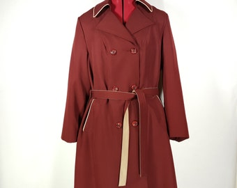 Vintage Trench Coat Long 1970's Burgundy Winter Lining