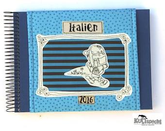 Blue Photo Album travel, motiv Globetrotter, travel diary white pages, album gift, cloth bag cotton, German needlework, application, Retro