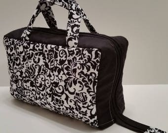 Ornate Black Lunch Tote Opening Into a Tray.