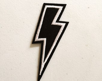 Thunderbolt Iron-On Patch, Lightning Bolt Badge, DIY Embroidery, Embroidered Applique, Pop Culture Gift