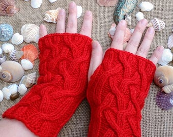 Free Shipping/ Cabled Gloves/ Fingerless Gloves/ Wool Knit Gloves/ Lattice Cable/ Arm Warmers/ Made in USA/ Ready to Ship