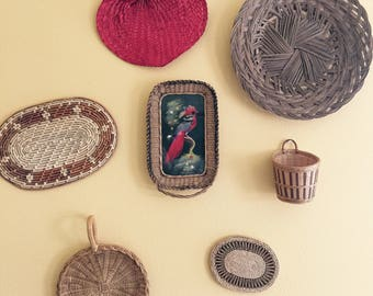 Unique set of 7, Wall haning baskets Boho Decor. free Shipping