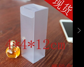 new 50ps Transparent PVC box boutique box gift box toy box 4 * 4 * 12cm frosted box