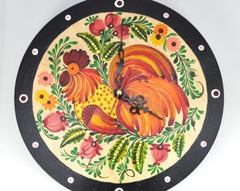 Hand Painted Wall Clock/ Home Decor / Rooster Clock / Wooden Wall Clock