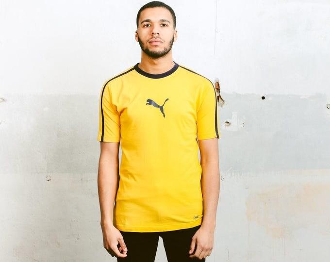 Mens Yellow T-Shirt . Vintage 90s Puma T-Shirt Unisex Summer Tee Shirt Puma Logo Yellow Sports Shirt 90s Mens Top Sportswear . size Small