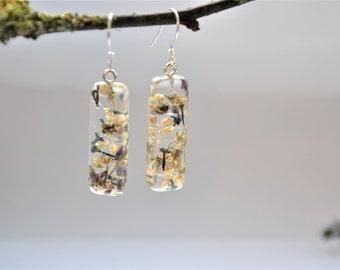 Fused flower earrings with eco resin, handmade in Ireland, unique earrings, sterling silver earrings, baby's breath, butterfly bush