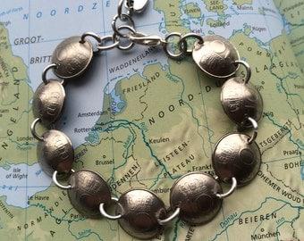 Netherlands coin bracelet in birth year 1960 - 1961 - 1962 - 1963 - 1964 - 1965 - 1966 - 1967 - 1968 - 1969 Dutch