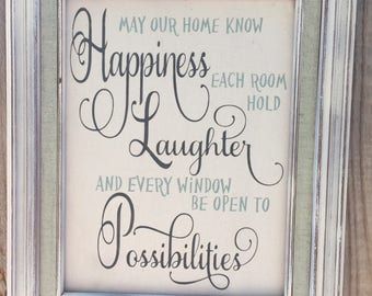 May our home know Happines,Quote on canvas,framed saying,inspirational quote,family wall decor,gallery wall art,family room sign,canvas art
