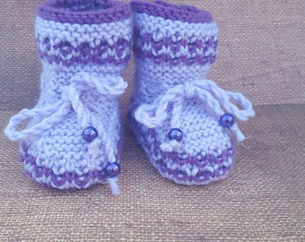 Purple baby booties, Peach baby booties, Newborn Outfit - Baby Shower Gift - Newborn Photo Prop New Dad Gift Newborn photo props photograph