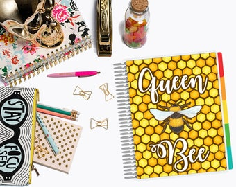 Queen Bee | Laminated Planner Cover for Erin Condren, Plum Paper, Happy Planner, LimeLife, Recollections, A5 & Personal Dashboards