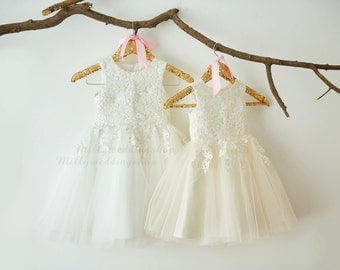 Ivory Lace Ivory Tulle Flower Girl Dress Wedding Bridesmaid Dress M0052