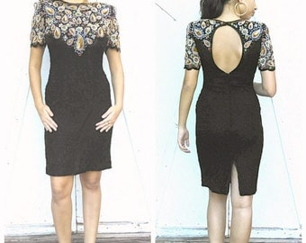 Vintage Beaded and Sequined Black Night Dress Mother of the bride by Lawrence Kazar Size M